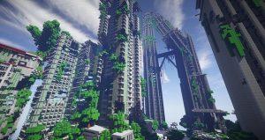 Un ville construite sur Minecraft